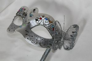 Silver Crystal Mask - Mask on Stick | Masks and Tiaras
